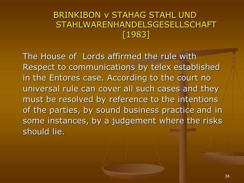 BRINKIBON v STAHAG STAHL UND STAHLWARENHANDELSGESELLSCHAFT [1983]